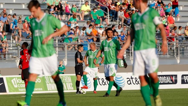 Oklahoma City's Gareth Evans (5) talks with an official during a game between Energy FC and T2 at Taft Stadium in Oklahoma City, Friday, June 5, 2015.  (Garett Fisbeck)