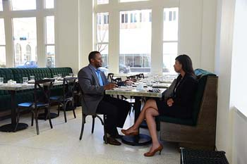 Jeremy and Rebecca Frazier enjoy an afternoon lunch at Kitchen 324.  mh