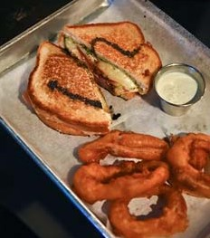 the Mule Sandwich and Onion Rings.  mh