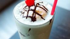 Grasshopper milkshake with a shot of creme de menthe at The Basement Modern Diner in Oklahoma City, Tuesday, Aug. 11, 2015.  (Garett Fisbeck)