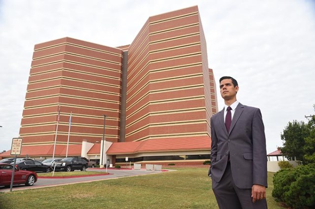 Adam Luck stands outside the Oklahoma County Jail.  (Mark Hancock)