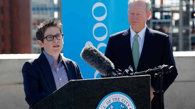 Jill Szuchmacher, director of expansion for Google Fiber, speaks during a press conference to announce Oklahoma City as a potential Google Fiber city at the Oklahoma City Museum of Art, Wednesday, Oct. 28, 2015.  (Garett Fisbeck)