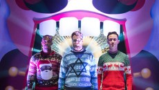 "L-r, Anthony Mackie, Joseph Gordon-Levitt and Seth Rogen star in Columbia Pictures' ""The Night Before."""