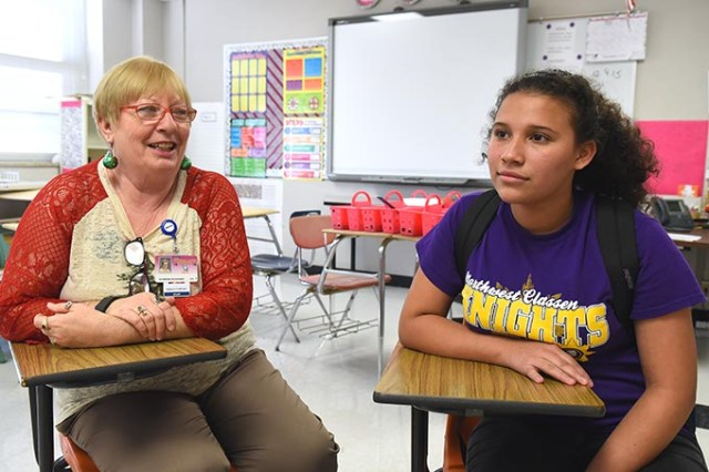 <em>From left</em> Northwest Classen High School teacher Katherine Holzheuser and student Andrea Melendez (Mark Hancock)