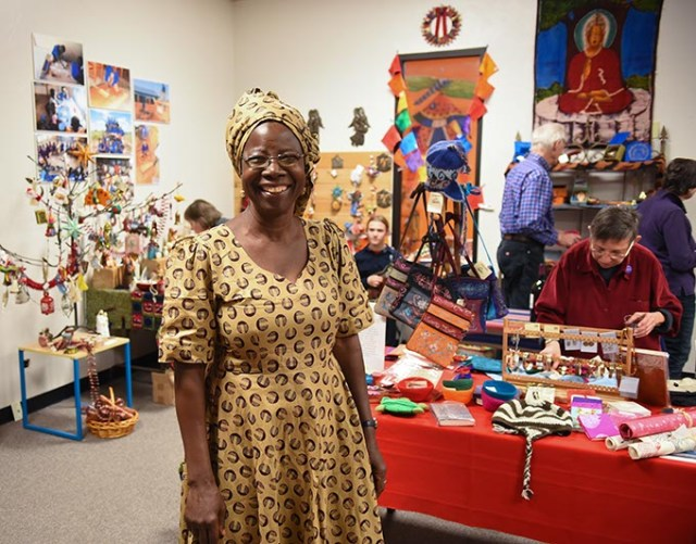 Alice Iddi-Gubbels, founder of PAMBE Ghana and director of its Global Market, at the recent opening of the seasonal fair trade shop in Oklahoma City. (Mark Hancock)