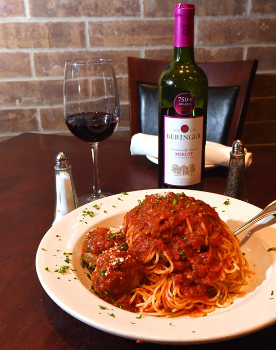 Spaghetti and meatballs with Beringer Merlot at Spazio Ristorante (Mark Hancock)