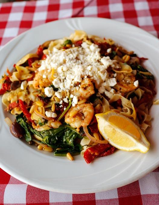 Mediterranean pasta at Flip's Wine Bar & Trattoria (Garett Fisbeck)