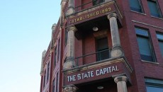 The State Capital Publishing Company Building sits at the intersection of Harrison Avenue and Second Street in Guthrie.  Photo by Laura Eastes