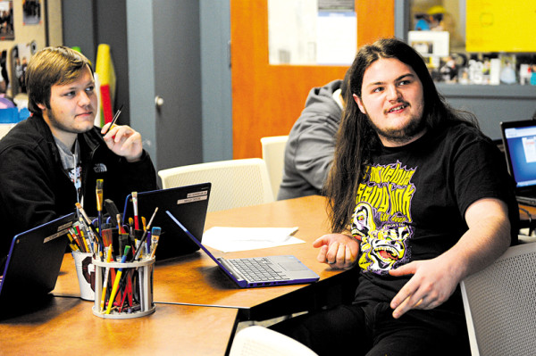 Ethan Beddo and Zackery Nichols in English class at Metro Career Academy. (Garett Fisbeck)