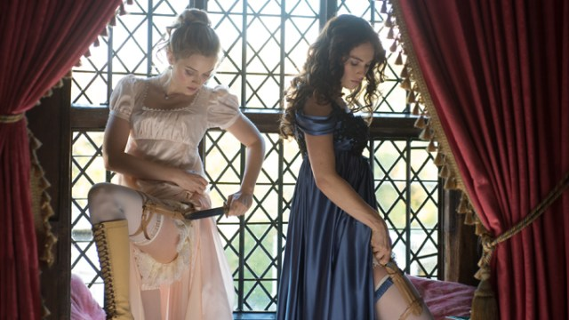 Bella Heathcote (left) and Lily James star in Screen Gems' PRIDE AND PREJUDICE AND ZOMBIES.
