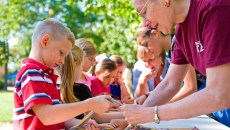 Students get firsthand experience with cultural arts such as finger weaving at the Cherokee Heritage Center during Indian Territory Days. (Provided)