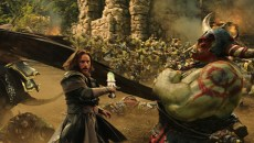 "Commander Anduin Lothar (TRAVIS FIMMEL) defends himself against an orc from The Horde in ""Warcraft.""  From Legendary Pictures and Universal Pictures comes ""Warcraft,"" an epic adventure of world-colliding conflict based on Blizzard Entertainment's global phenomenon."