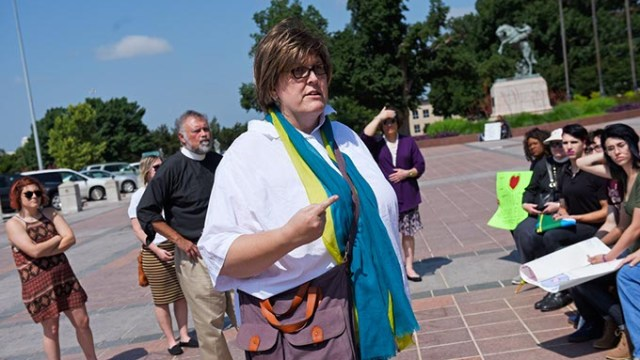 Paula Sophia Schonauer speaks at a protest for transgender rights at the Oklahoma State Capitol in this May 24 file photo. (Garett Fisbeck / File)