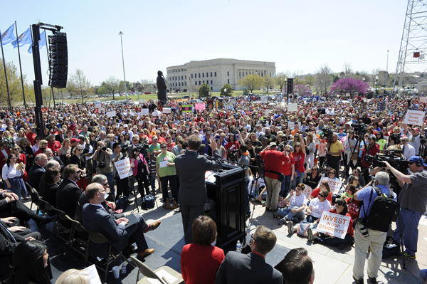 Thousands gathered at the state Capitol for a 2015 teacher rally. The call continues after voters nixed a proposed 1-cent sales tax hike to help fund education. (Garett Fisbeck)