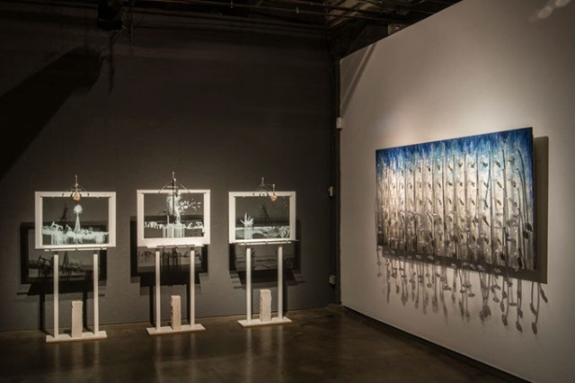 "<em>from left</em> Adam Lanman's interactive installation ""Earth Air Water"" and Beatriz Mayorca's ""Angel Fall"" are on display at [Artspace] at Untitled through December. (Provided)"