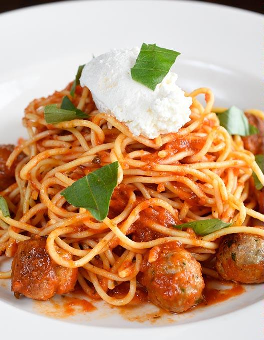 Spaghetti <em>polpettine</em> at Patrono Italian Restaurant (Garett Fisbeck / file)