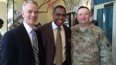 Eran Harrill center at a Black Chamber of Commerce Metro Oklahoma City event with U.S. Rep. Steve Russell left and Col. Bobby Yandell. | Photo provided