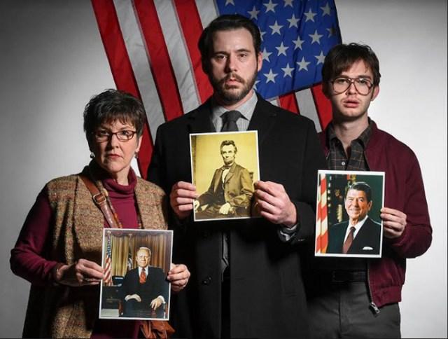 Assassins cast Lyn Cramer as Sara Jane Moore, Mateja Govich as John Wilkes Booth and Mark Jammal as John Hinckley Jr. (KO Rinearson / provided)