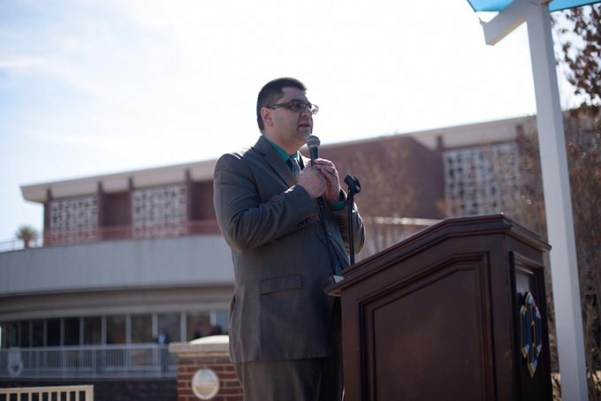 Adam Soltani addresses the crowd at a #NoBanNoWall rally at the University of Central Oklahoma. (Garett Fisbeck)