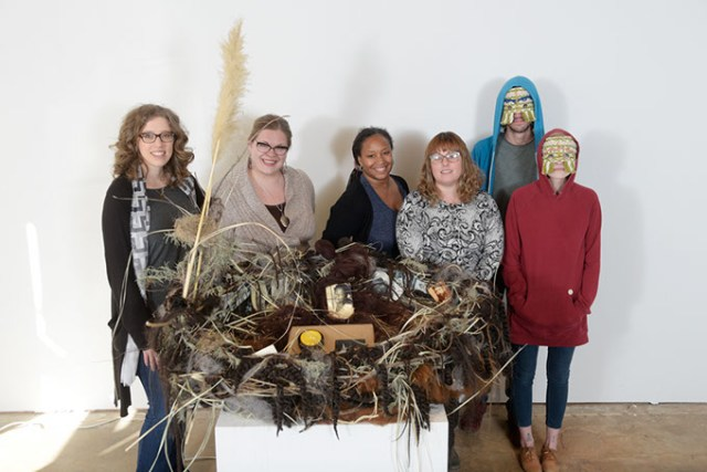 <em>from left</em> Current Studio's Kelsey Karper and artists Kelly Rogers, Susanne Thomas, Sarah Engel-Barnett and Holey Kids with the <em>Nesting Instincts</em> installation. (Garett Fisbeck)