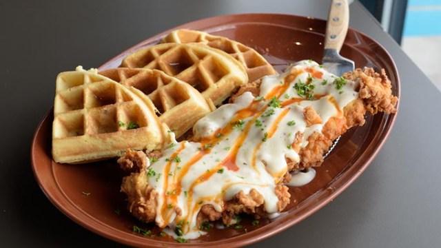 Chicken n' waffles at Hatch, Thursday, Feb. 2, 2017.  (Garett Fisbeck)