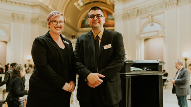 Anna Facci and Adam Soltani at the Oklahoma State Capitol on Muslim Day at the Capitol on March 2. | Photo Provided