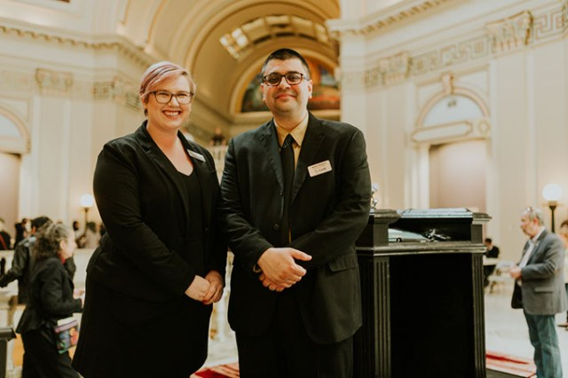 Anna Facci and Adam Soltani at the Oklahoma State Capitol on Muslim Day at the Capitol on March 2. (Photo provided)