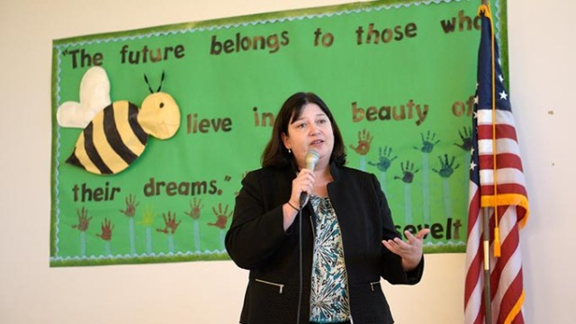 Aurora Lora speaks during a public meeting at Andrew Johnson Elementary, Thursday, March 23, 2017.  (Garett Fisbeck)
