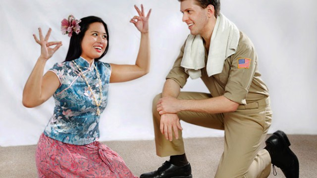 """Hannah Descartin uses hand movements  to sing """"Happy Talk"""" to Jeremy Small in this publicity photo for Jewel Box Theatre's production of """"South Pacific,"""" the theatre's final show of this season. Photo by Jim Beckel, The Oklahoman"""