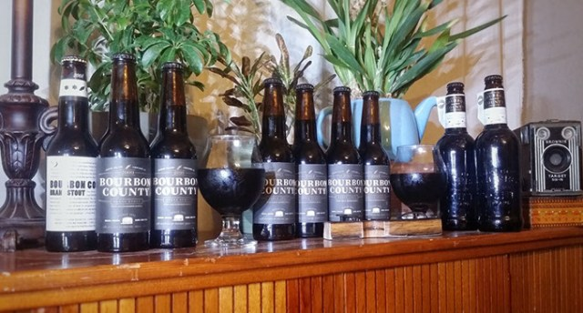 Nine years of Goose Island's Bourbon County Brand Stout collected by beer trader Mike Byrne. He plans to vertically taste of a decade of the hard-to-find beer. (Mike Byrne / provided)