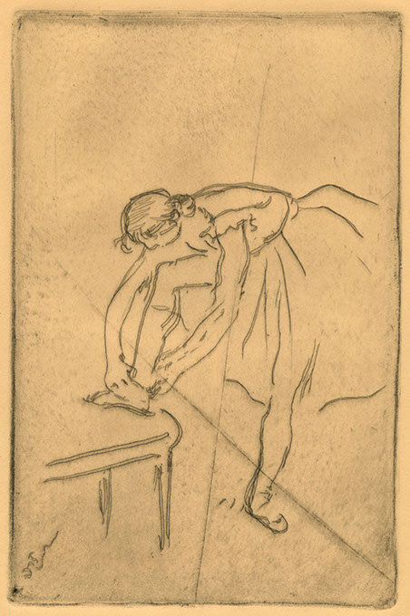 """<em>Danseuse mettant son chausson</em>,"" an etching by Edgar Degas (Fred Jones Jr. Museum of Art / provided)"