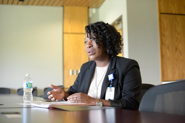 Aundria Goree, administrator of community health, talks about a grand the OCCHD has recently received, Tuesday, April 25, 2017.  (Garett Fisbeck)