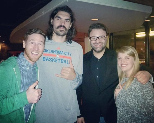 <em>from left</em> Comic Spencer Hicks with Oklahoma City Thunder player Steven Adams and <em>The Dates of Our Lives</em> co-hosts Ryan Drake and Malory Craft. Hicks, Drake and Craft lead <em>OKC Tinder LIVE</em> May 25. (provided)