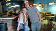 ​Michelle Simer and Tanner Miller pose for a photo at Blue Bonnet Bar, Friday, April 14, 2017.  (Garett Fisbeck)