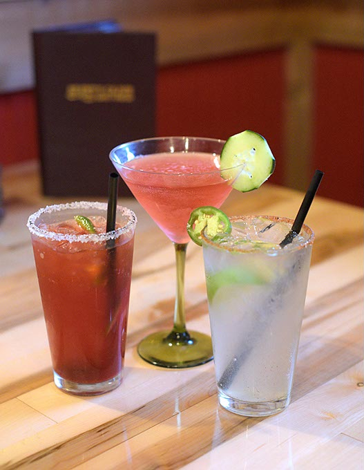 Cucumber Cosmo, Straberry Jalapeño Margarita, and Creole Club Special at Brent's Cajun Seafood & Oyster Bar (Garett Fisbeck)
