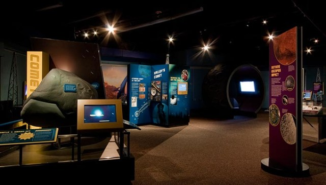 The <em>Comets, Asteroids, Meteors: Great Balls of Fire!</em> exhibit teaches visitors the difference between reality and fiction surrounding the celestial bodies. (Sam Noble Museum / provided)