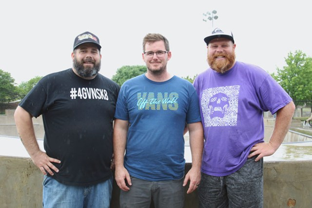 <em>from left</em> Darrin Zdanowski, Israel Brumback and Kyle Upton stand at the edge of the bowl in the skate park at Matt Hoffman Action Sports Park. (Cara Johnson)