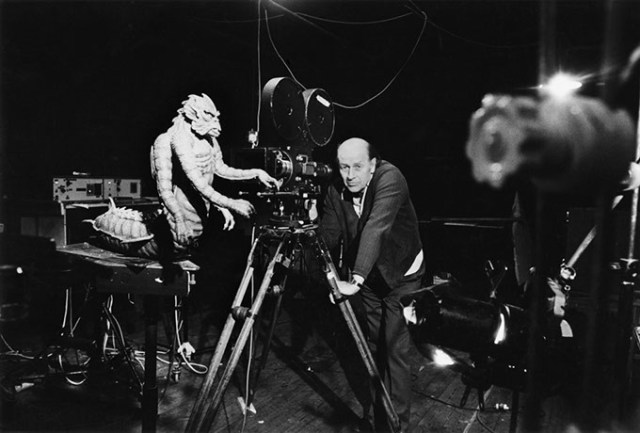 Ray Harryhausen stands with his Kraken model during production for the 1981 film <em>Clash of the Titans</em>. (The Ray & Diana Harryhausen Foundation / provided)