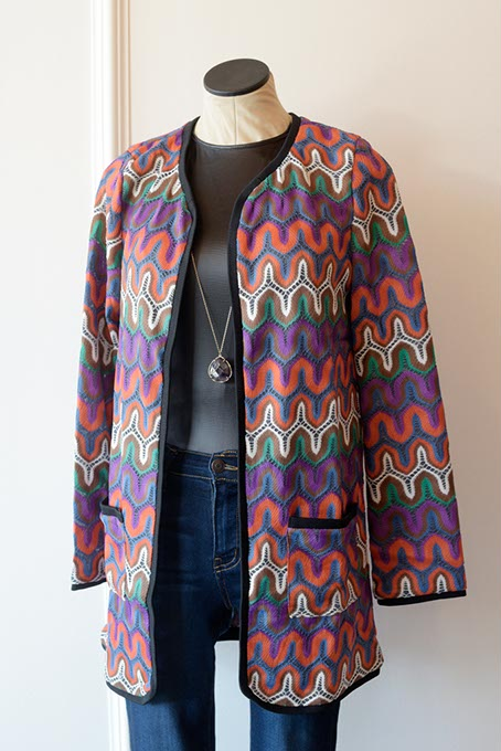 This knit jacket from The Black Scintilla offers a colorful alternative to fall's typical earth tones. (Garett Fisbeck)