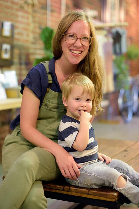 Lindsay Zodrow and her son, Finn, are fixtures at the Plaza District's Collective Thread, which Zodrow opened in 2008. (Garett Fisbeck)