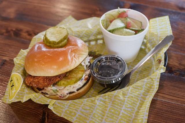 Nashbird's chicken sandwich comes with  lemon coleslaw. | Photo Garett Fisbeck