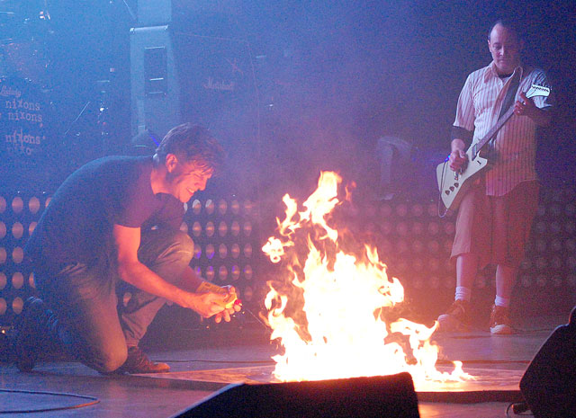 It has become a near tradition for The Nixons' frontman Zac Maloy to light a fire on stage. The recently revived post grunge band will play its last show for the near future on New Year's Eve. (Provided)