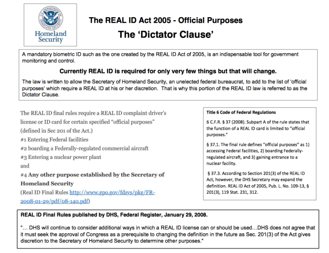 The Real ID Act 2005 --  'Dictator Clause' -- Complements DHS