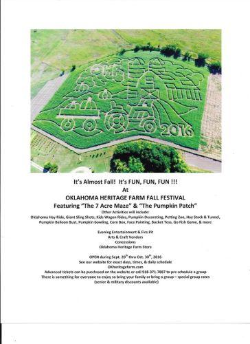 OK Heritage Farm – Fall Festival Brings A-Mazing Fun for Entire Family to Ramona (Bartlesville area)