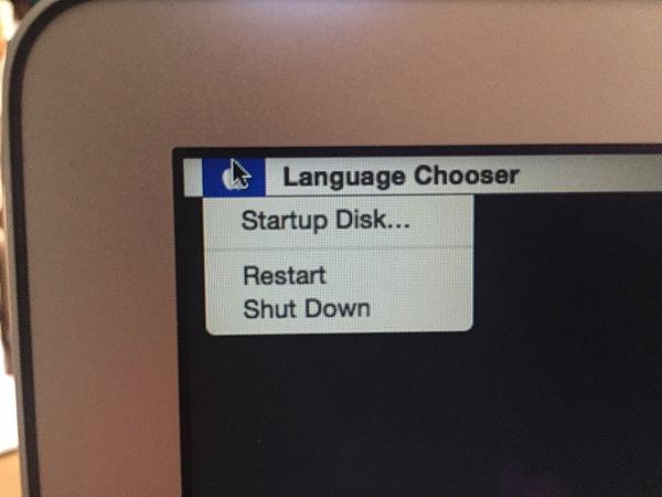 macbookair起動時に表示された画面