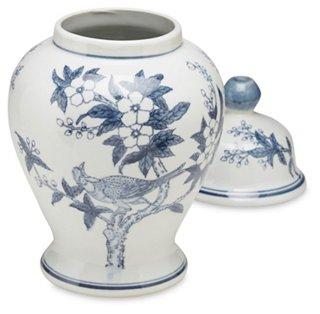 15quot Ceramic Ginger Jar Blue White Decorative Jars