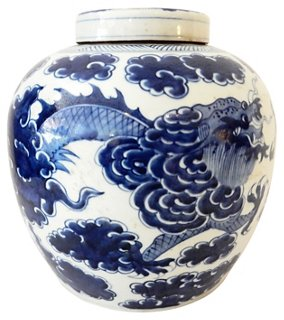 Blue White Ginger Jar W Dragon Ethnika Home Decor And