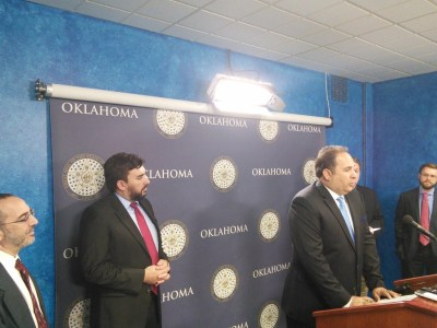 OK Policy's David Blatt, the ACLU's Brady Henderson, Sen. Kyle Loveless, Soonerpoll's Bill Shapard, and OCPA's Trent England at a joint press conference on civil asset forfeiture.