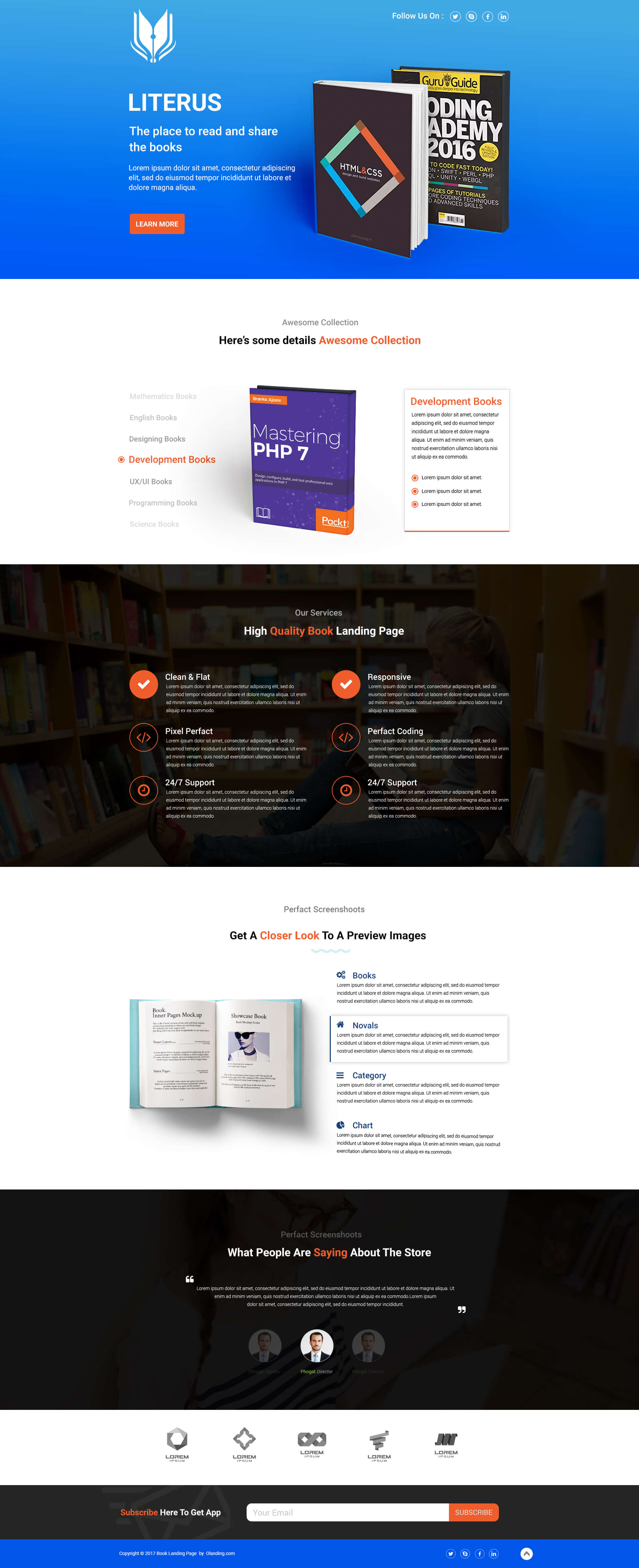 Design Shop Online Responsive Book Store Shop Landing Page Design Template To