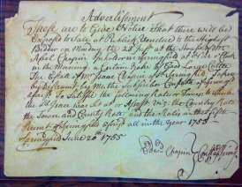 Publick Sale 20 June 1755